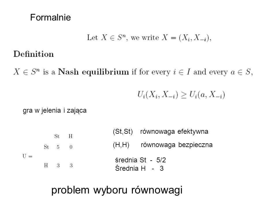 Formalnie (St,St) równowaga efektywna (H,H) równowaga bezpieczna średnia St - 5/2 Średnia H - 3 gra w jelenia i zająca problem wyboru równowagi