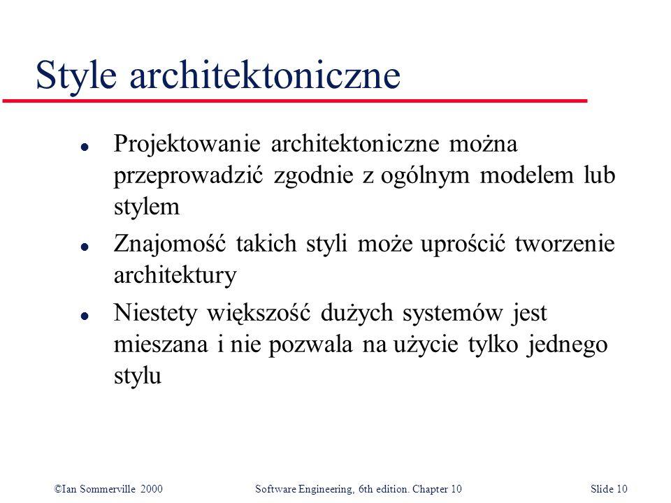 ©Ian Sommerville 2000 Software Engineering, 6th edition. Chapter 10Slide 10 Style architektoniczne l Projektowanie architektoniczne można przeprowadzi