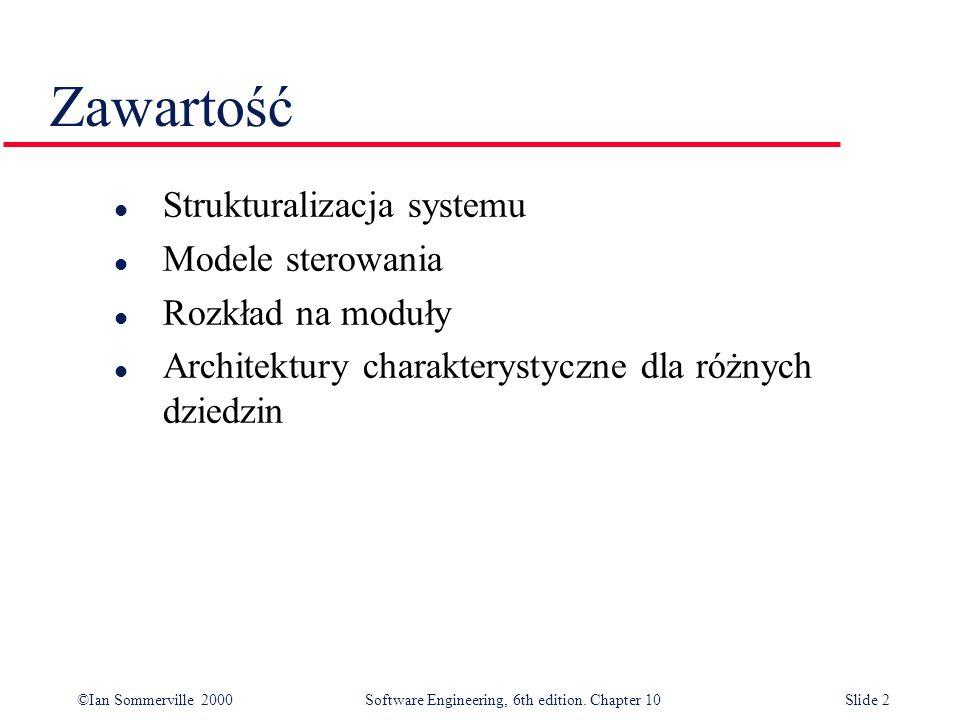 ©Ian Sommerville 2000 Software Engineering, 6th edition. Chapter 10Slide 2 Zawartość l Strukturalizacja systemu l Modele sterowania l Rozkład na moduł