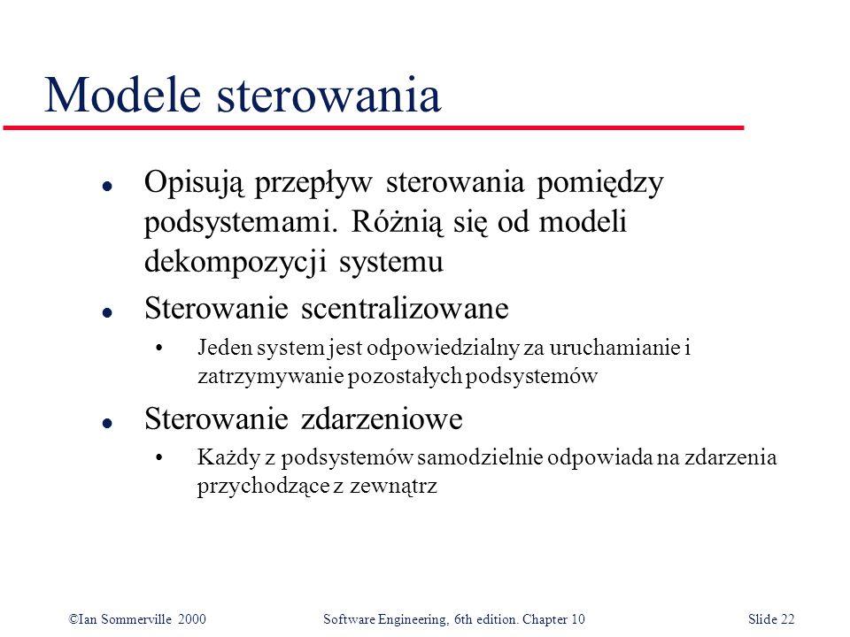 ©Ian Sommerville 2000 Software Engineering, 6th edition. Chapter 10Slide 22 Modele sterowania l Opisują przepływ sterowania pomiędzy podsystemami. Róż