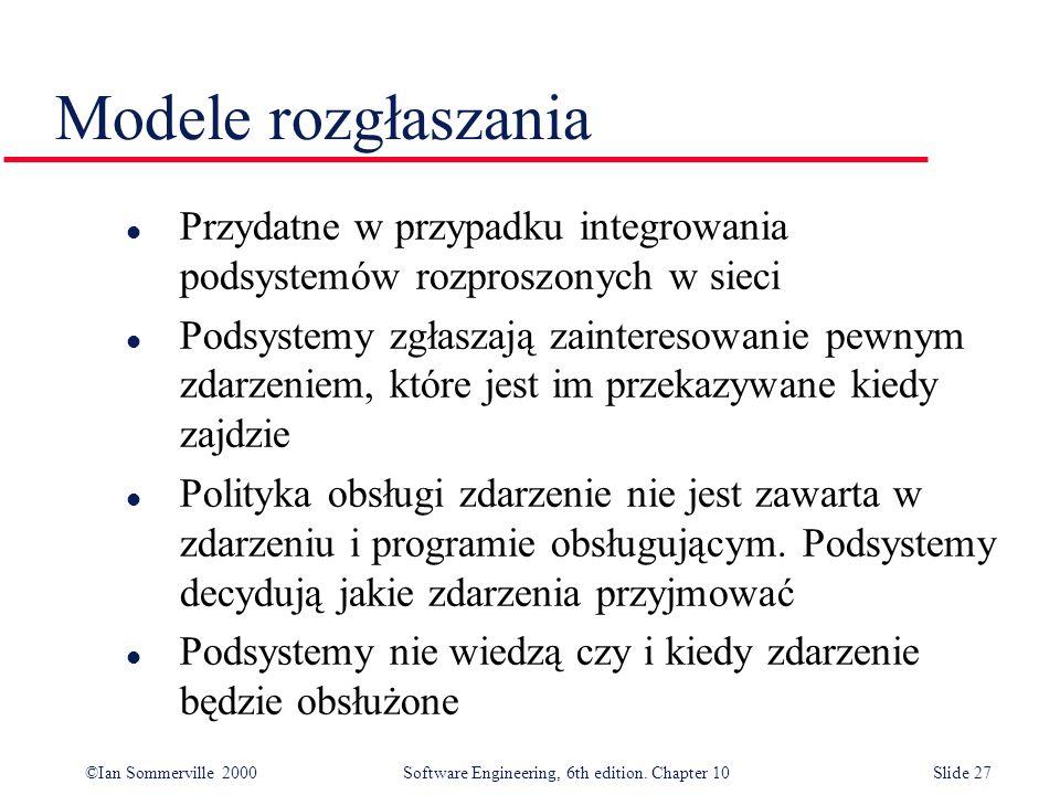 ©Ian Sommerville 2000 Software Engineering, 6th edition. Chapter 10Slide 27 Modele rozgłaszania l Przydatne w przypadku integrowania podsystemów rozpr
