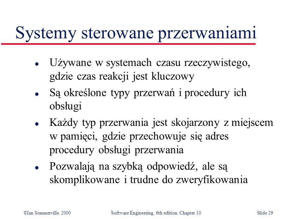 ©Ian Sommerville 2000 Software Engineering, 6th edition. Chapter 10Slide 29 Systemy sterowane przerwaniami l Używane w systemach czasu rzeczywistego,