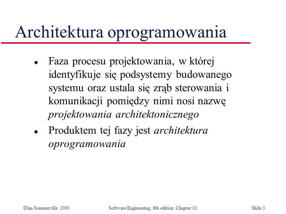 ©Ian Sommerville 2000 Software Engineering, 6th edition. Chapter 10Slide 3 Architektura oprogramowania l Faza procesu projektowania, w której identyfi