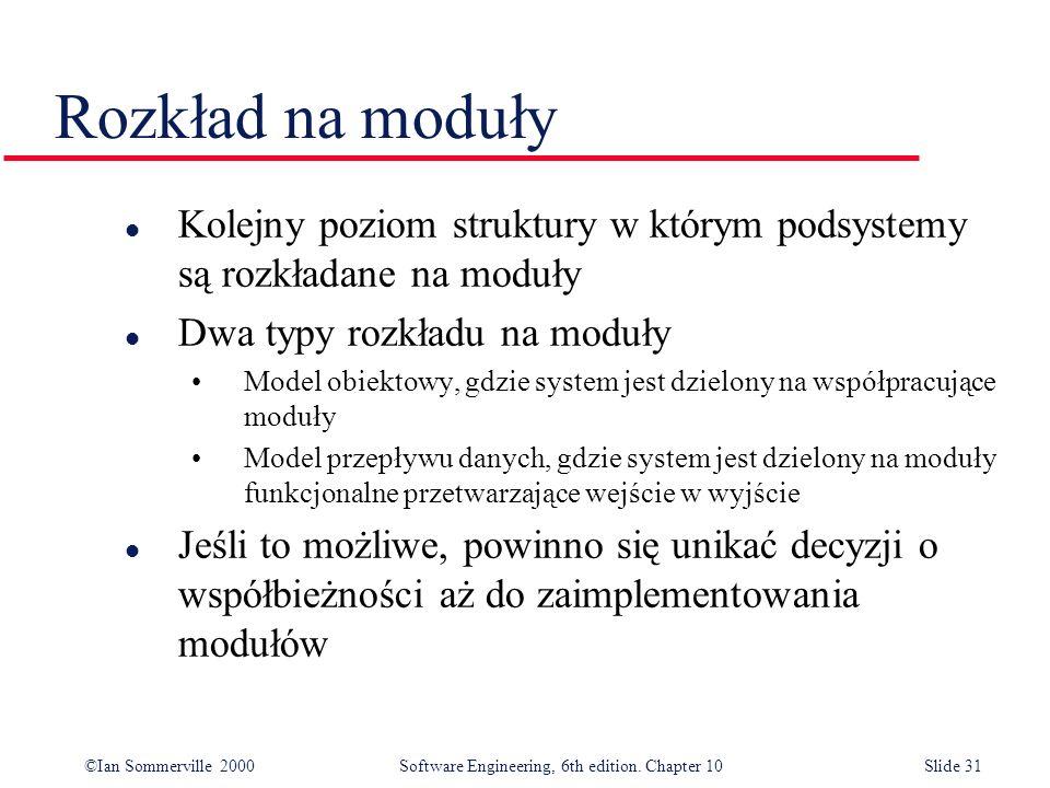 ©Ian Sommerville 2000 Software Engineering, 6th edition. Chapter 10Slide 31 Rozkład na moduły l Kolejny poziom struktury w którym podsystemy są rozkła