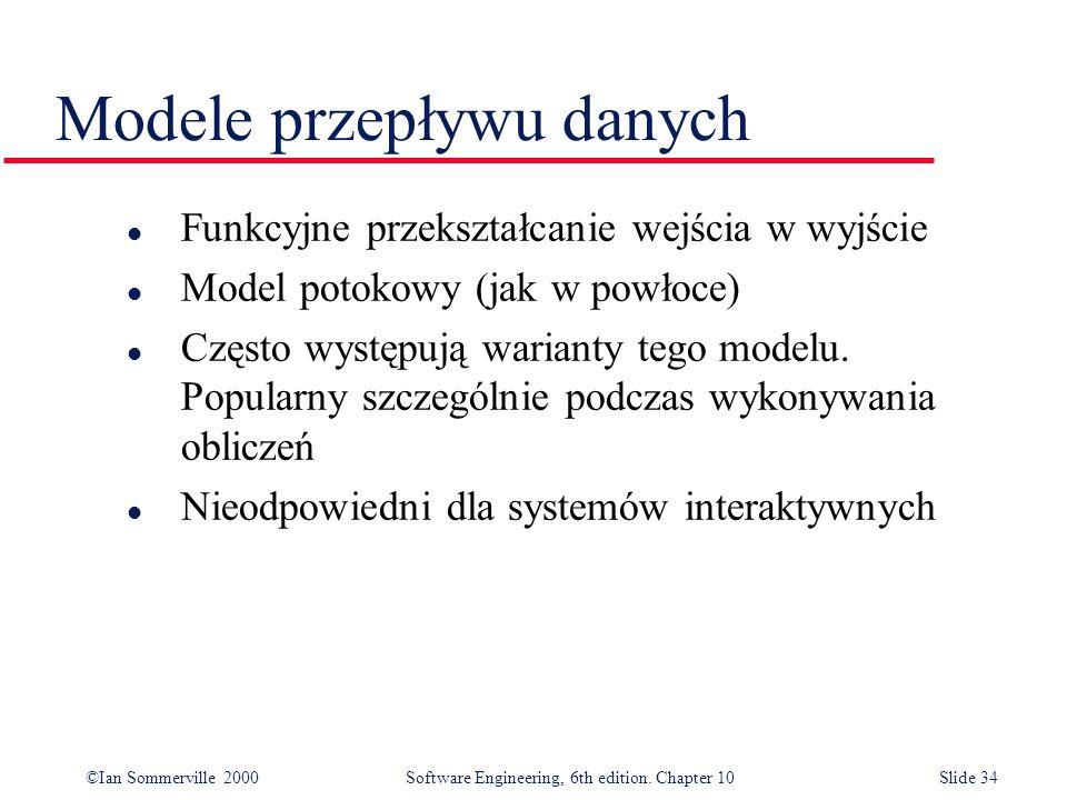 ©Ian Sommerville 2000 Software Engineering, 6th edition. Chapter 10Slide 34 Modele przepływu danych l Funkcyjne przekształcanie wejścia w wyjście l Mo