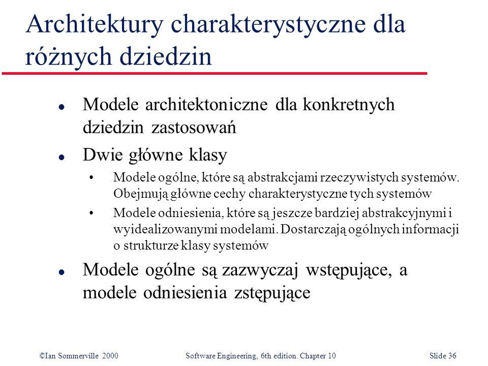 ©Ian Sommerville 2000 Software Engineering, 6th edition. Chapter 10Slide 36 Architektury charakterystyczne dla różnych dziedzin l Modele architektonic