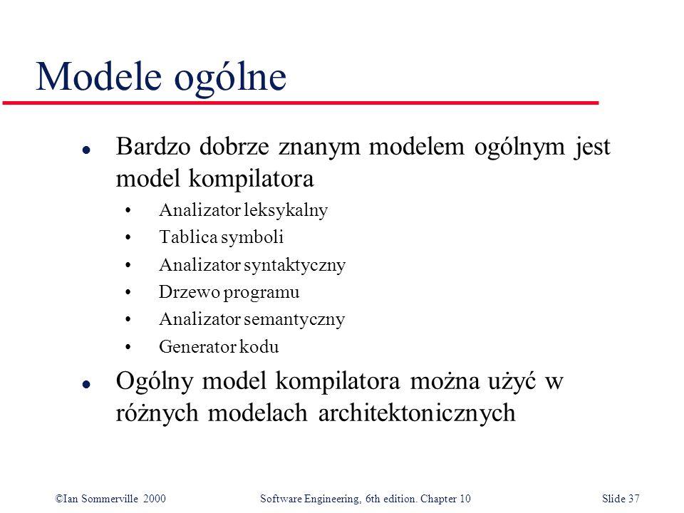 ©Ian Sommerville 2000 Software Engineering, 6th edition. Chapter 10Slide 37 Modele ogólne l Bardzo dobrze znanym modelem ogólnym jest model kompilator