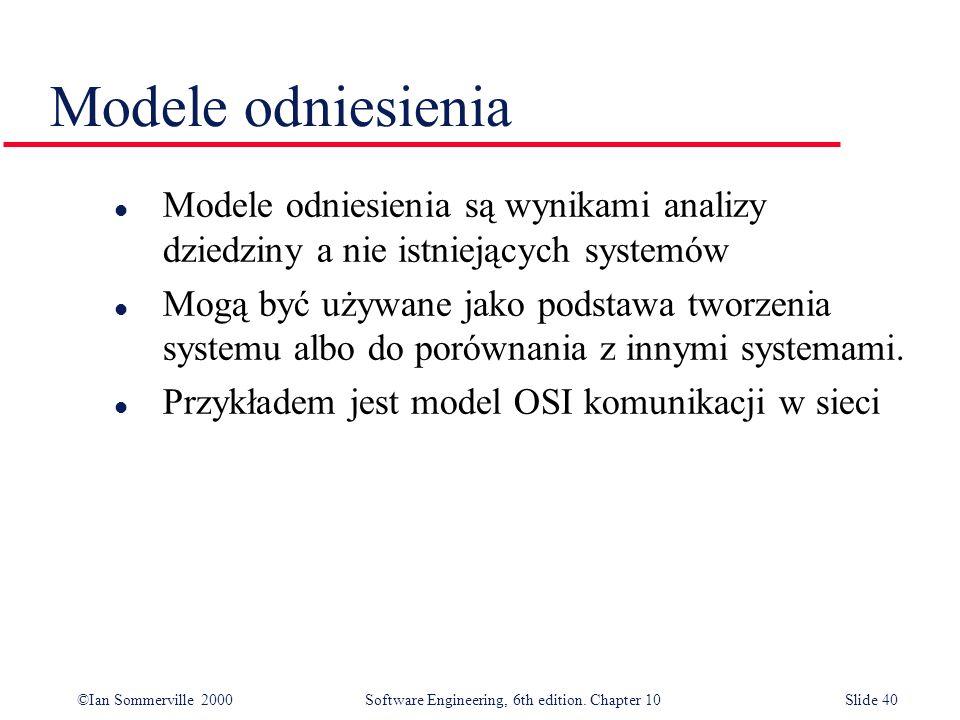 ©Ian Sommerville 2000 Software Engineering, 6th edition. Chapter 10Slide 40 Modele odniesienia l Modele odniesienia są wynikami analizy dziedziny a ni