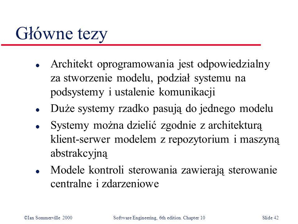 ©Ian Sommerville 2000 Software Engineering, 6th edition. Chapter 10Slide 42 Główne tezy l Architekt oprogramowania jest odpowiedzialny za stworzenie m