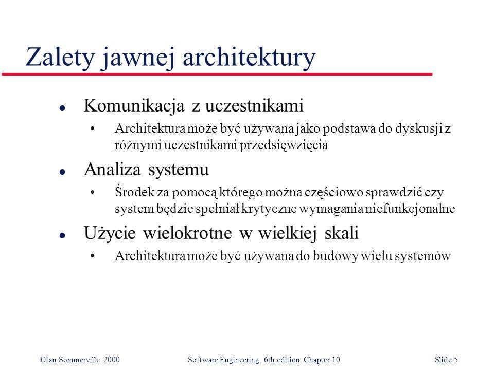 ©Ian Sommerville 2000 Software Engineering, 6th edition. Chapter 10Slide 5 Zalety jawnej architektury l Komunikacja z uczestnikami Architektura może b