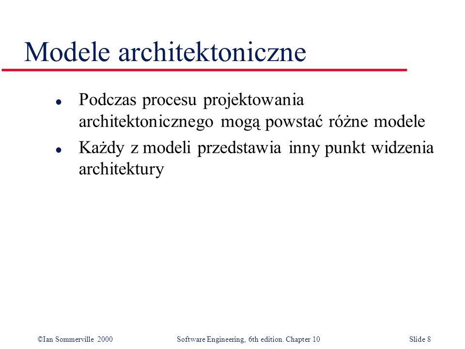 ©Ian Sommerville 2000 Software Engineering, 6th edition. Chapter 10Slide 8 Modele architektoniczne l Podczas procesu projektowania architektonicznego