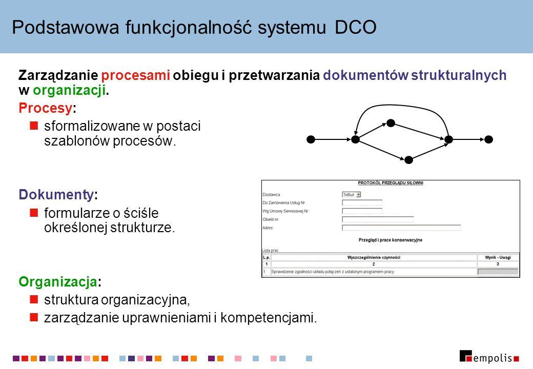 Podstawowa funkcjonalność systemu DCO Zarządzanie procesami obiegu i przetwarzania dokumentów strukturalnych w organizacji.