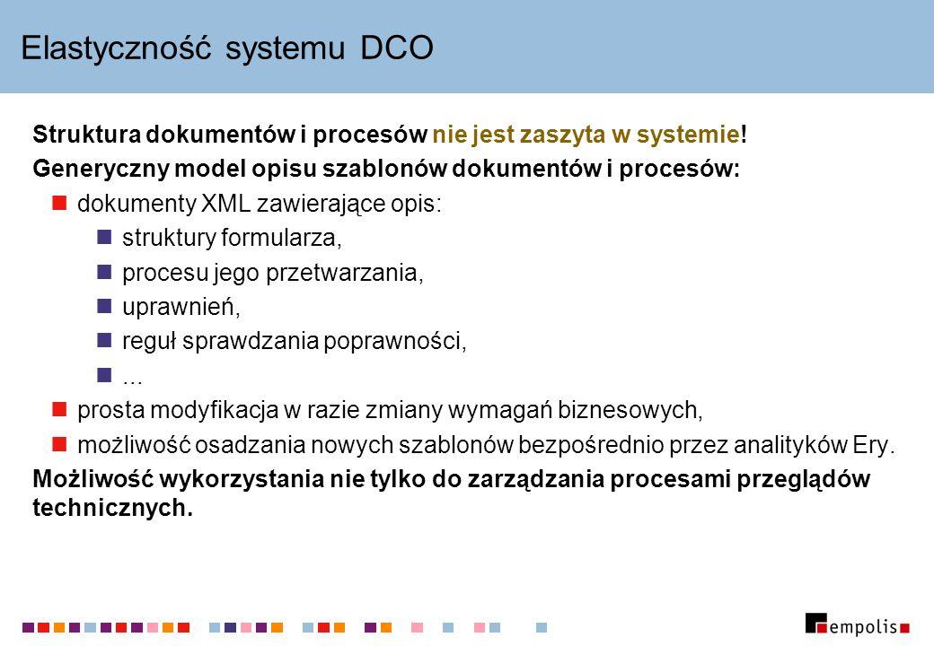 Elastyczność systemu DCO Struktura dokumentów i procesów nie jest zaszyta w systemie.
