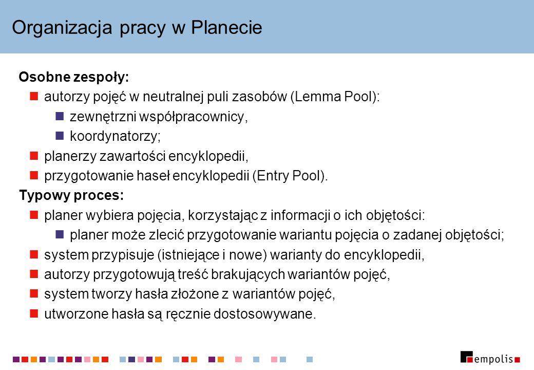 Organizacja pracy w Planecie Osobne zespoły: autorzy pojęć w neutralnej puli zasobów (Lemma Pool): zewnętrzni współpracownicy, koordynatorzy; planerzy zawartości encyklopedii, przygotowanie haseł encyklopedii (Entry Pool).