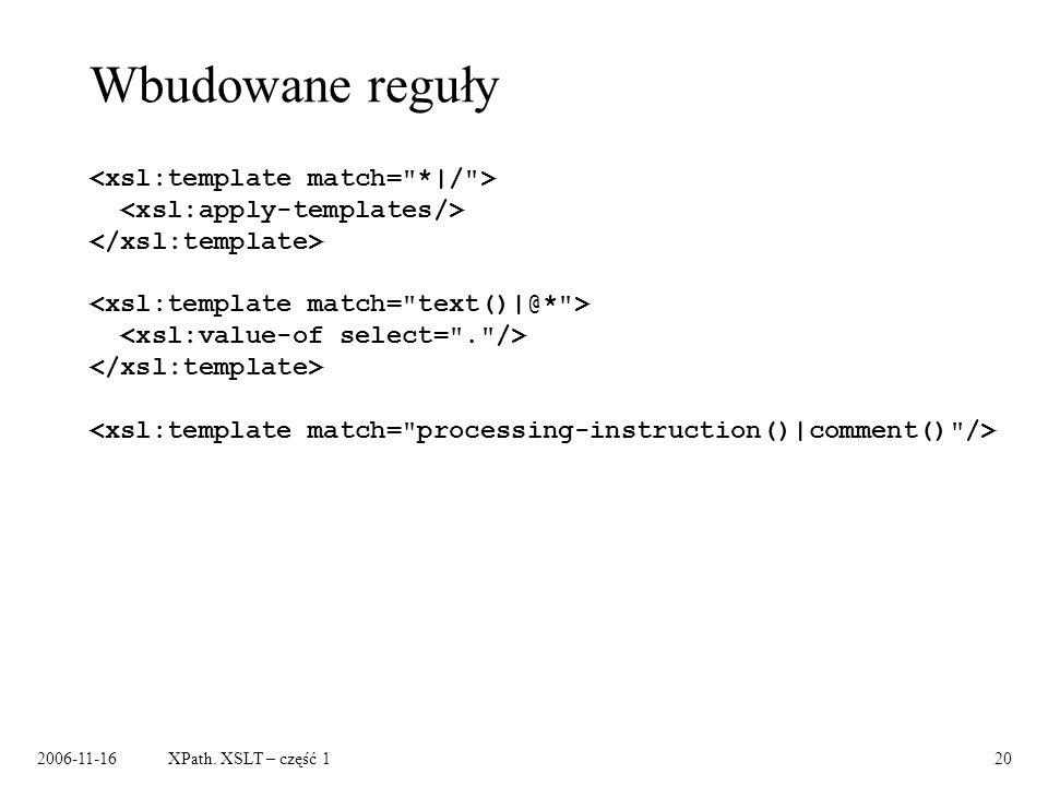 2006-11-16XPath. XSLT – część 120 Wbudowane reguły