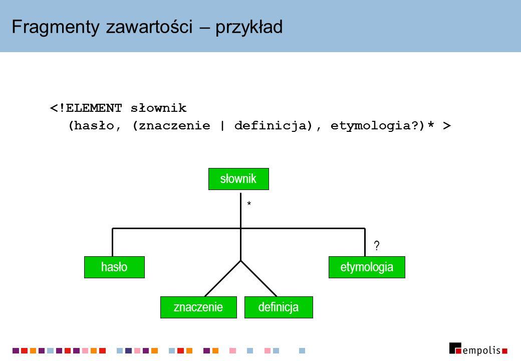 Fragmenty zawartości – przykład znaczenie(znaczenie | definicja)(hasło, (znaczenie | definicja), etymologia ) znaczenie definicja hasłoetymologia .