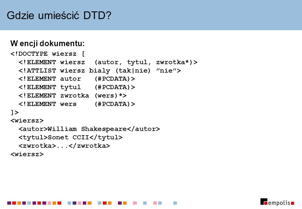 Gdzie umieścić DTD W encji dokumentu: ]> William Shakespeare Sonet CCII...