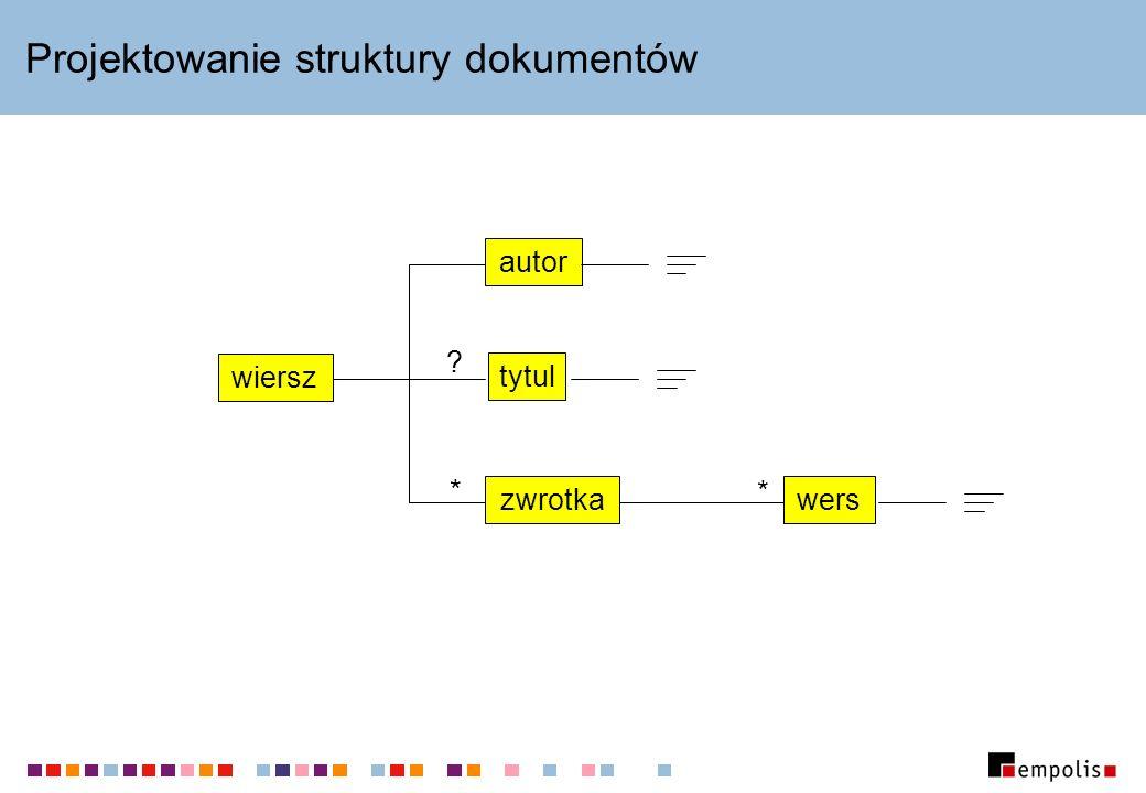 DTD – prosty przykład <!DOCTYPE wiersz [ ]> element główny zawartość elementów atrybuty wyrażenia regularne