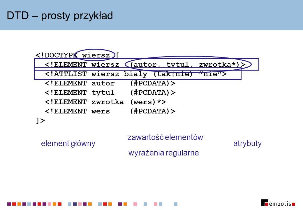 Encje wewnętrzne i zewnętrzne Encje wewnętrzne: DTD: Extensible Markup Language > Instancja dokumentu: Metajęzyk &xml; wywodzi się z SGML-a.