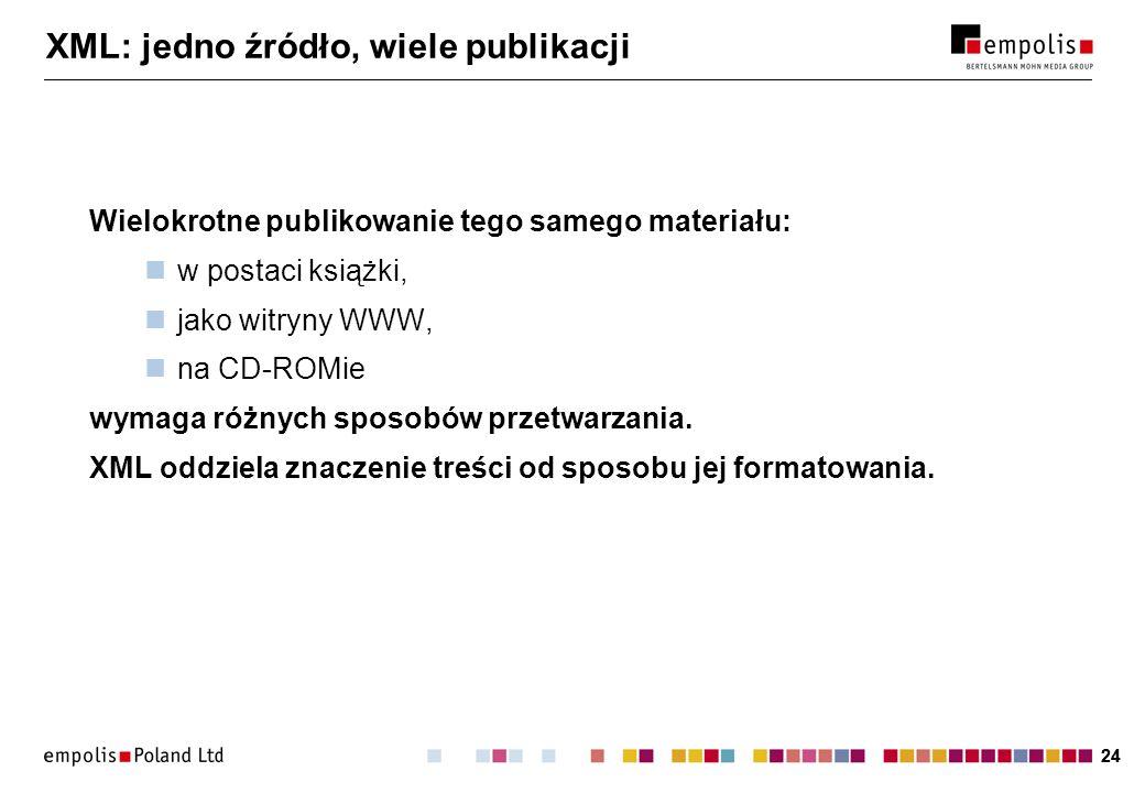 24 XML: jedno źródło, wiele publikacji Wielokrotne publikowanie tego samego materiału: w postaci książki, jako witryny WWW, na CD-ROMie wymaga różnych