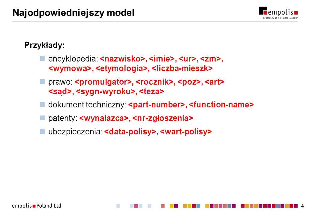 44 Najodpowiedniejszy model Przykłady: encyklopedia:,,,,,, prawo:,,,,, dokument techniczny:, patenty:, ubezpieczenia:,
