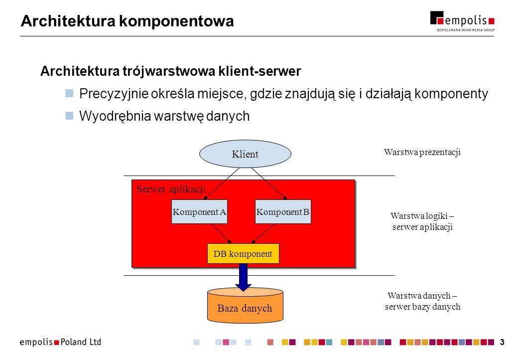 33 Architektura komponentowa Architektura trójwarstwowa klient-serwer Precyzyjnie określa miejsce, gdzie znajdują się i działają komponenty Wyodrębnia