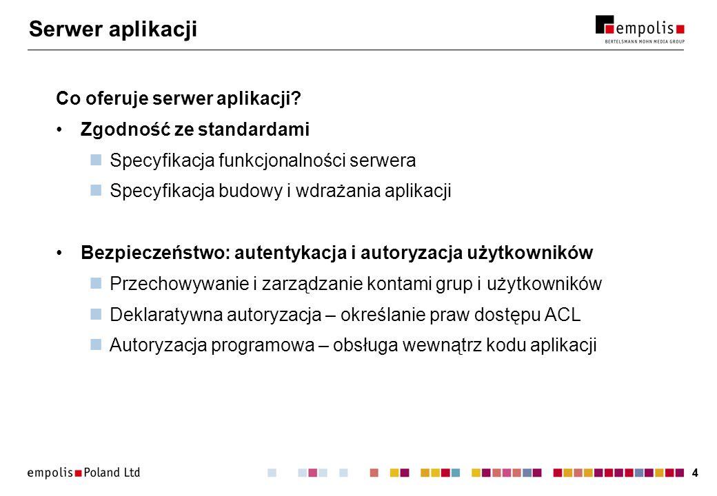 44 Serwer aplikacji Co oferuje serwer aplikacji? Zgodność ze standardami Specyfikacja funkcjonalności serwera Specyfikacja budowy i wdrażania aplikacj