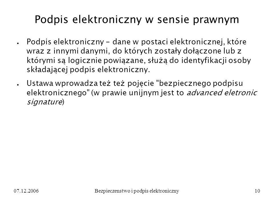 07.12.2006Bezpieczenstwo i podpis elektroniczny10 Podpis elektroniczny w sensie prawnym Podpis elektroniczny - dane w postaci elektronicznej, które wr