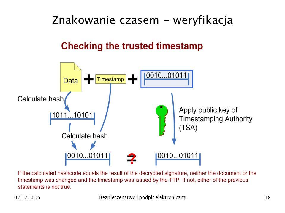 07.12.2006Bezpieczenstwo i podpis elektroniczny18 Znakowanie czasem - weryfikacja