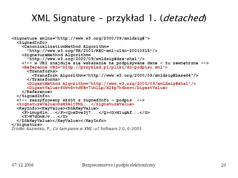 07.12.2006Bezpieczenstwo i podpis elektroniczny20 XML Signature – przykład 1. (detached) <CanonicalizationMethod Algorithm=
