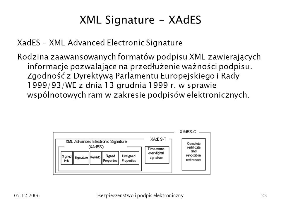 07.12.2006Bezpieczenstwo i podpis elektroniczny22 XML Signature - XAdES XadES - XML Advanced Electronic Signature Rodzina zaawansowanych formatów podp