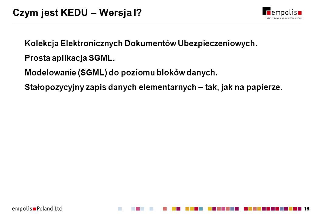 16 Czym jest KEDU – Wersja I. Kolekcja Elektronicznych Dokumentów Ubezpieczeniowych.
