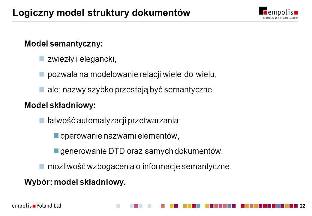 22 Logiczny model struktury dokumentów Model semantyczny: zwięzły i elegancki, pozwala na modelowanie relacji wiele-do-wielu, ale: nazwy szybko przestają być semantyczne.