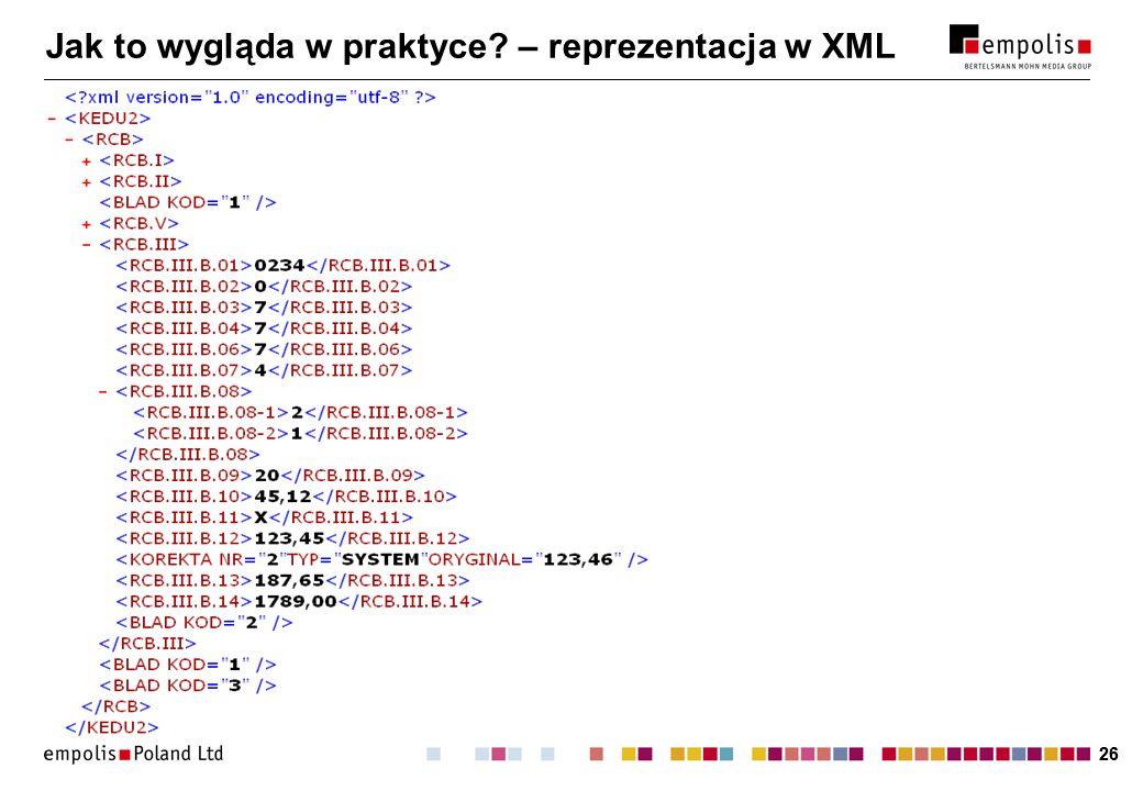 26 Jak to wygląda w praktyce – reprezentacja w XML