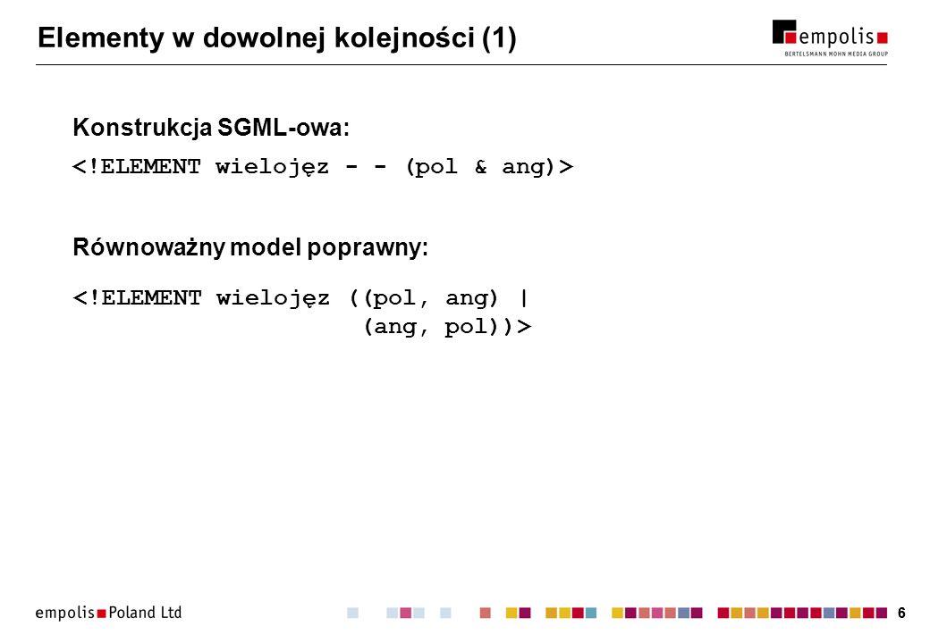 66 Elementy w dowolnej kolejności (1) Konstrukcja SGML-owa: Równoważny model poprawny: