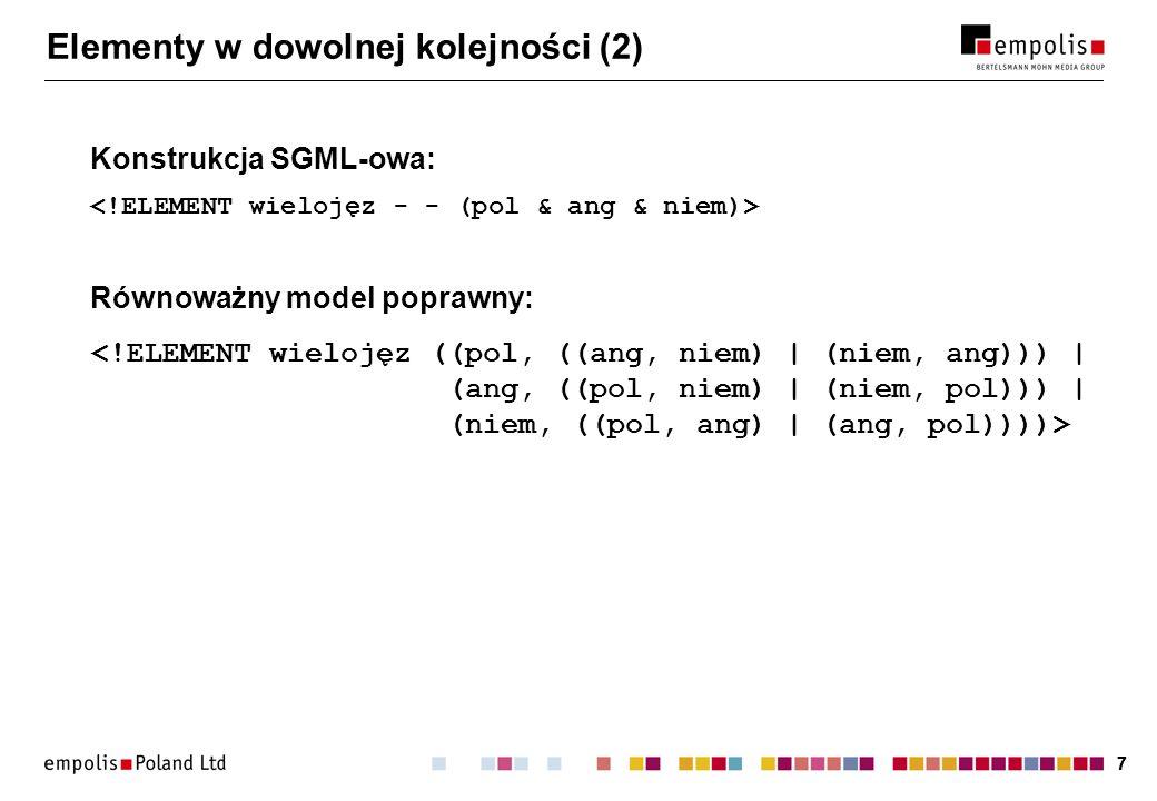 77 Elementy w dowolnej kolejności (2) Konstrukcja SGML-owa: Równoważny model poprawny: