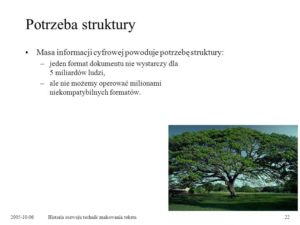 2005-10-06Historia rozwoju technik znakowania tekstu22 Potrzeba struktury Masa informacji cyfrowej powoduje potrzebę struktury: –jeden format dokument
