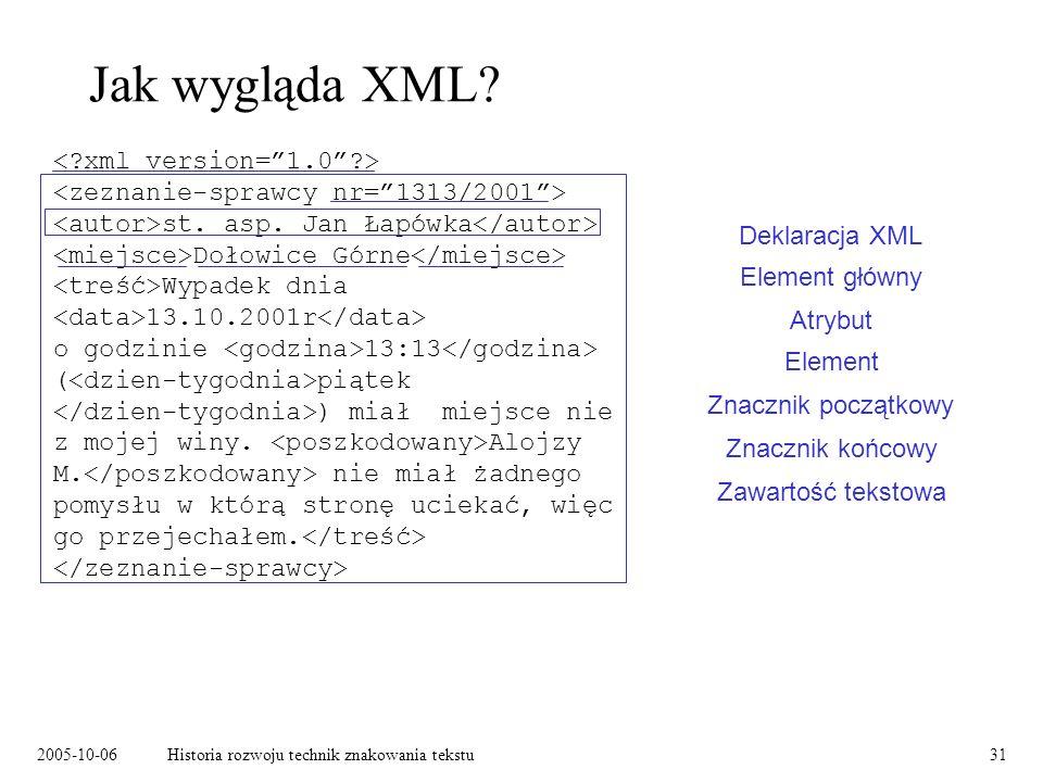 2005-10-06Historia rozwoju technik znakowania tekstu31 Jak wygląda XML? st. asp. Jan Łapówka Dołowice Górne Wypadek dnia 13.10.2001r o godzinie 13:13