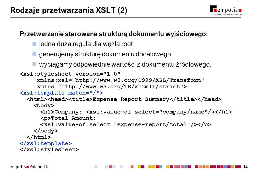 14 Rodzaje przetwarzania XSLT (2) Przetwarzanie sterowane strukturą dokumentu wyjściowego: jedna duża reguła dla węzła root, generujemy strukturę doku