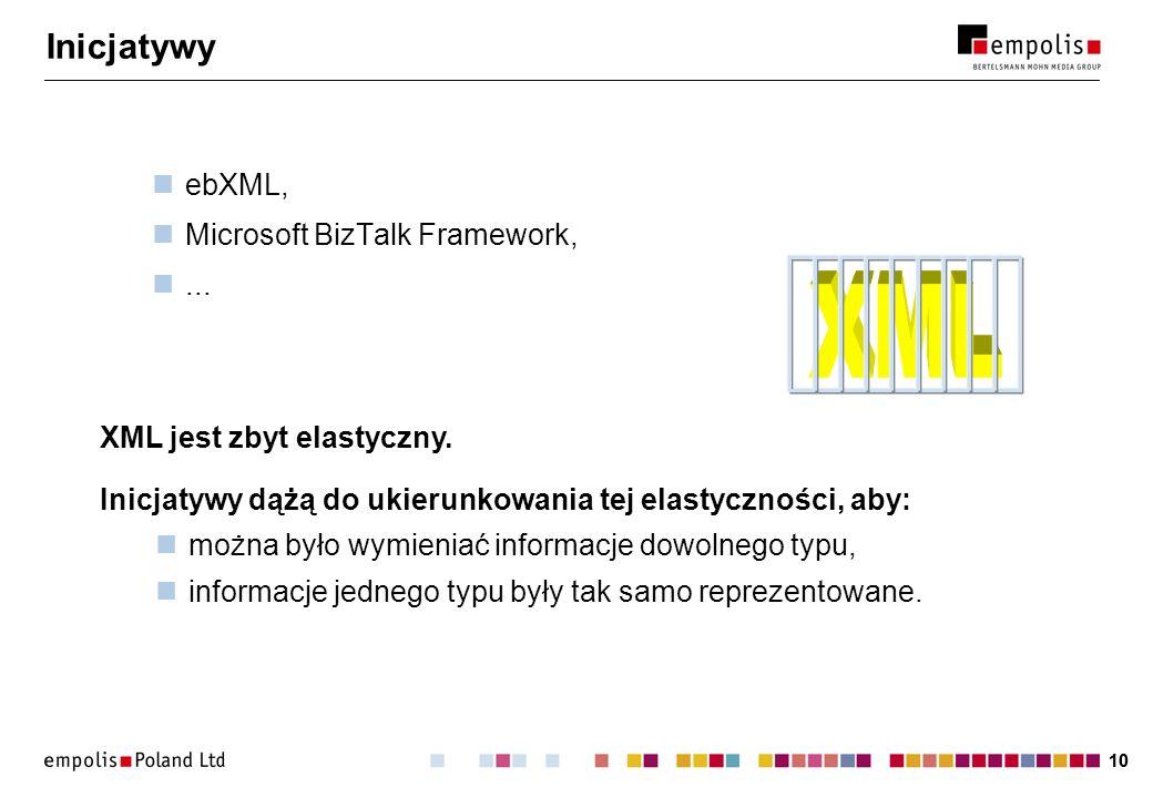10 Inicjatywy ebXML, Microsoft BizTalk Framework,... Inicjatywy dążą do ukierunkowania tej elastyczności, aby: można było wymieniać informacje dowolne