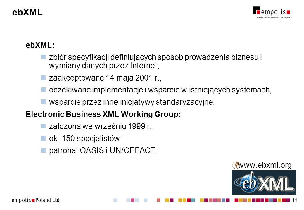 11 ebXML ebXML: zbiór specyfikacji definiujących sposób prowadzenia biznesu i wymiany danych przez Internet, zaakceptowane 14 maja 2001 r., oczekiwane