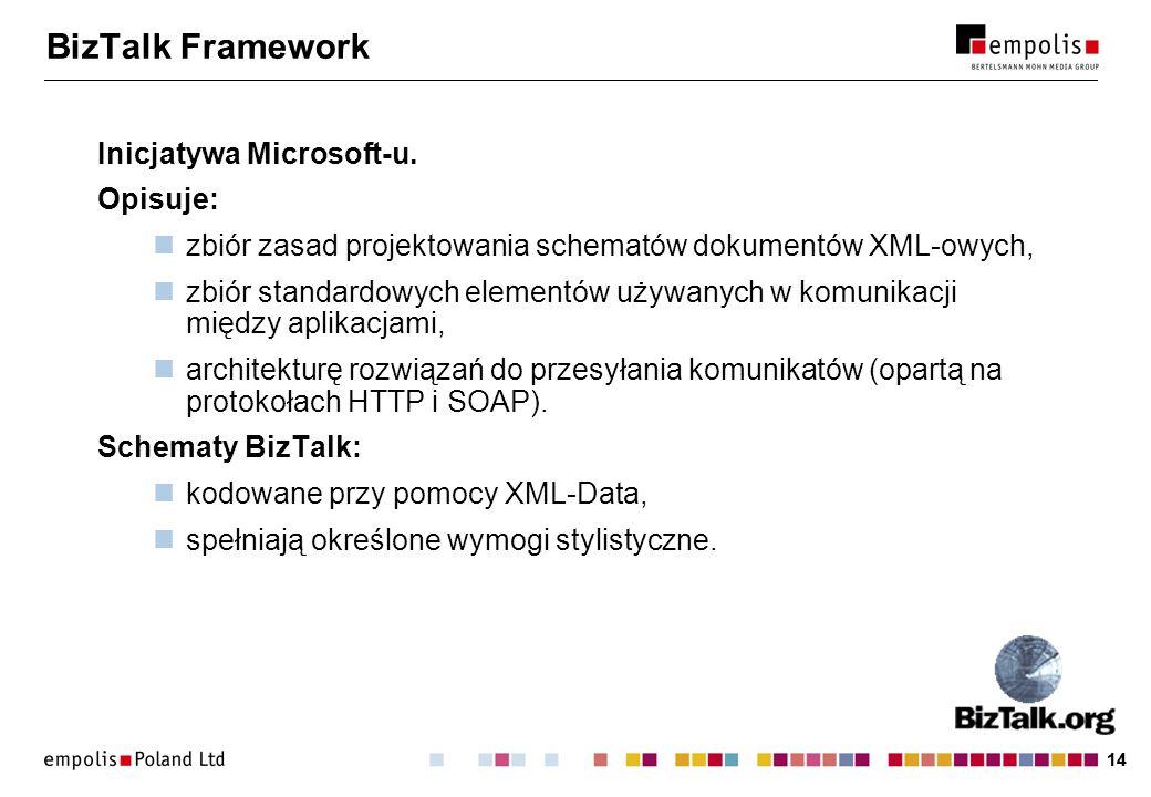 14 BizTalk Framework Inicjatywa Microsoft-u. Opisuje: zbiór zasad projektowania schematów dokumentów XML-owych, zbiór standardowych elementów używanyc