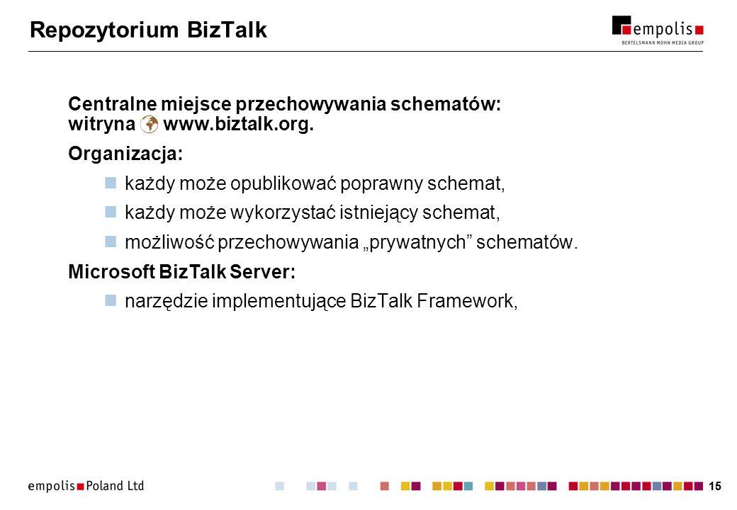 15 Repozytorium BizTalk Centralne miejsce przechowywania schematów: witryna www.biztalk.org. Organizacja: każdy może opublikować poprawny schemat, każ