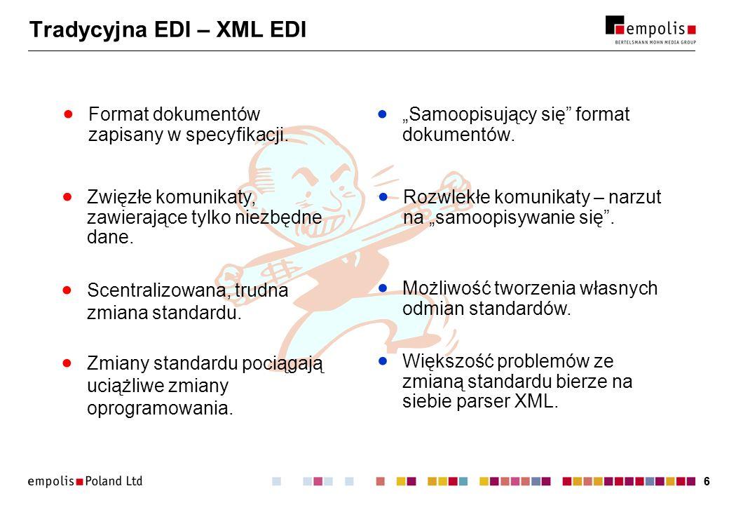 66 Tradycyjna EDI – XML EDI Format dokumentów zapisany w specyfikacji. Samoopisujący się format dokumentów. Zmiany standardu pociągają uciążliwe zmian