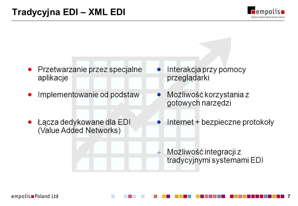 77 Tradycyjna EDI – XML EDI Łącza dedykowane dla EDI (Value Added Networks) Możliwość korzystania z gotowych narzędzi Implementowanie od podstaw Inter