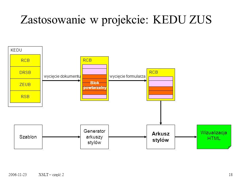 2006-11-23XSLT – część 218 Zastosowanie w projekcie: KEDU ZUS KEDU RCB DRSB ZEUB RSB RCB Blok powtarzalny wycięcie dokumentuwycięcie formularza RCB Arkusz stylów Generator arkuszy stylów Szablon Wizualizacja HTML
