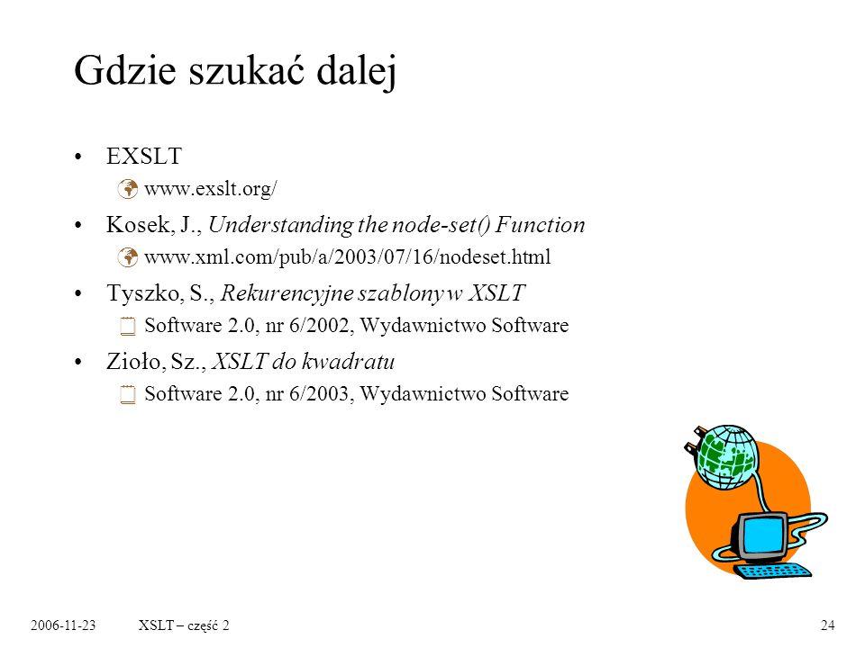 2006-11-23XSLT – część 224 Gdzie szukać dalej EXSLT www.exslt.org/ Kosek, J., Understanding the node-set() Function www.xml.com/pub/a/2003/07/16/nodeset.html Tyszko, S., Rekurencyjne szablony w XSLT Software 2.0, nr 6/2002, Wydawnictwo Software Zioło, Sz., XSLT do kwadratu Software 2.0, nr 6/2003, Wydawnictwo Software