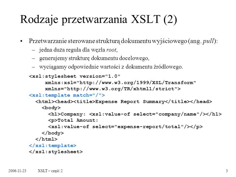 2006-11-23XSLT – część 23 Rodzaje przetwarzania XSLT (2) Przetwarzanie sterowane strukturą dokumentu wyjściowego (ang.