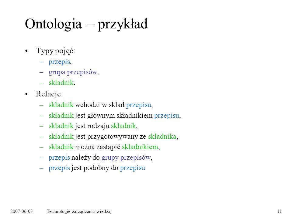 2007-06-03Technologie zarządzania wiedzą11 Ontologia – przykład Typy pojęć: –przepis, –grupa przepisów, –składnik.