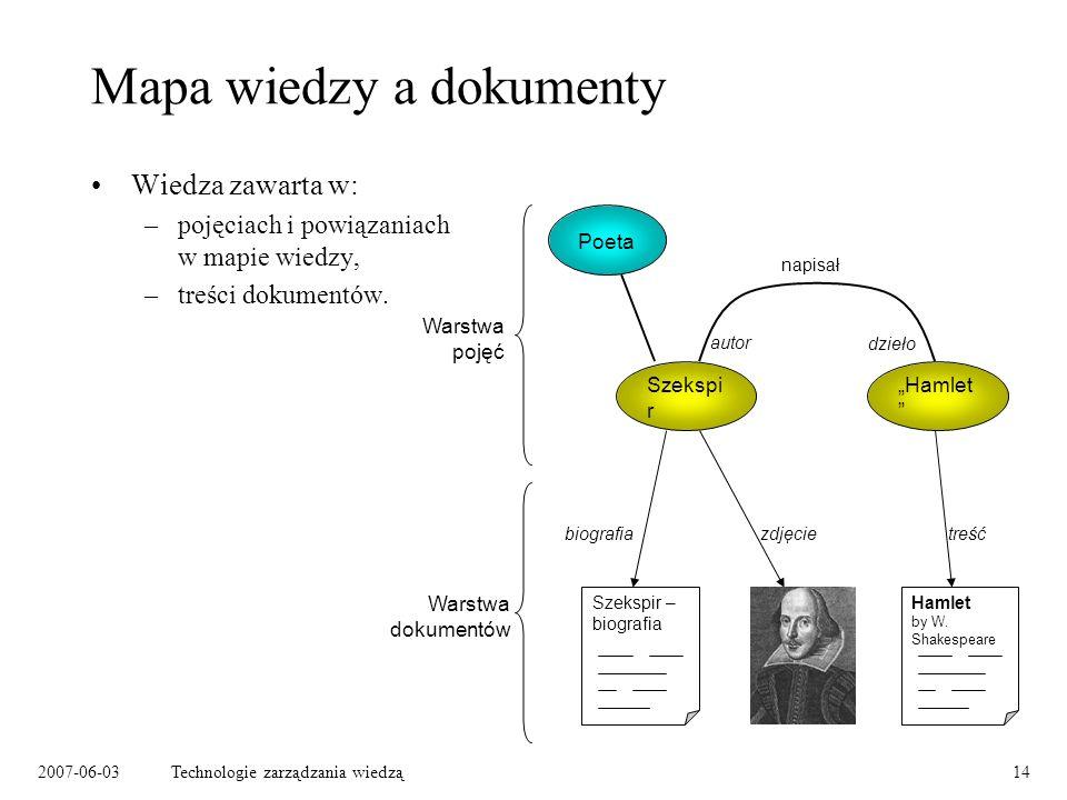2007-06-03Technologie zarządzania wiedzą14 Mapa wiedzy a dokumenty Wiedza zawarta w: –pojęciach i powiązaniach w mapie wiedzy, –treści dokumentów.